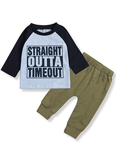 Toddler Infant Baby Boy Clothes Long Sleeve Hoodie Tops Sweatsuit + Camouflage Long Pants 2PCs Outfit Set(6-12Months)
