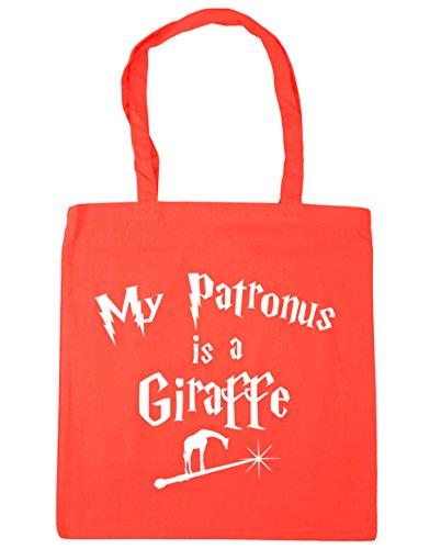 HippoWarehouse My Patronus Is A Giraffe Tote Shopping Gym Beach Bag 42cm x38cm, 10 litres Coral
