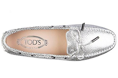 Tod's mocassini donna in pelle originale heaven laccetto occhielli argento