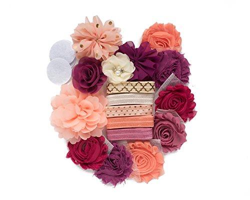 First Kiss : Plum Blush & Peach DIY Deluxe Mini Headband Kit MAKES 5-10 Headband Hair Accessories : Rose & White Shabby Chiffon Craft Roses FOE Fold Over Elastic : Princess Parties & Baby Showers ()
