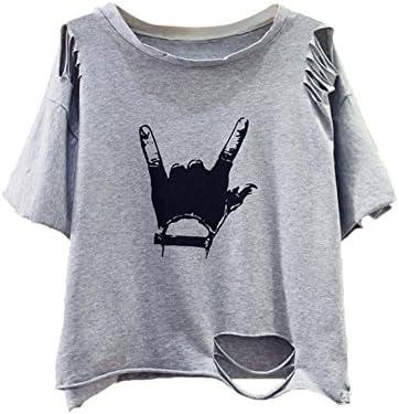 SweatyRocks Tshirt Camo Print Distressed Crop T-Shirt – The Super Cheap