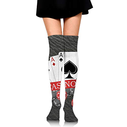 Huangwei Over Knee High Tube Stockings Poker Card Suits Hearts Clubs Spades Long Tube Socks Compresson Socks for Women and Girls