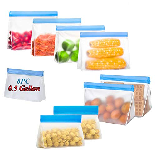 Reusable Storage Bags Stand-Up - 8PC X 0.5 Gallon for Vegetables - BPA Free Food Grade PEVA - Extra Thick Leakproof Plastic Free Vegetable Bags Food Storage Freezer Safe