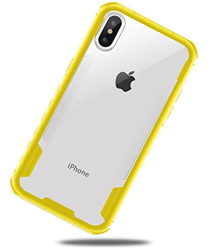 iPhone X case, iPhone 10 Case, Heavy Duty TPU Shatterproof Bumper Edges Crystal Clear Hard PC Back Cover for Apple iPhone X (2017) by DAUPIN Clear+Yellow