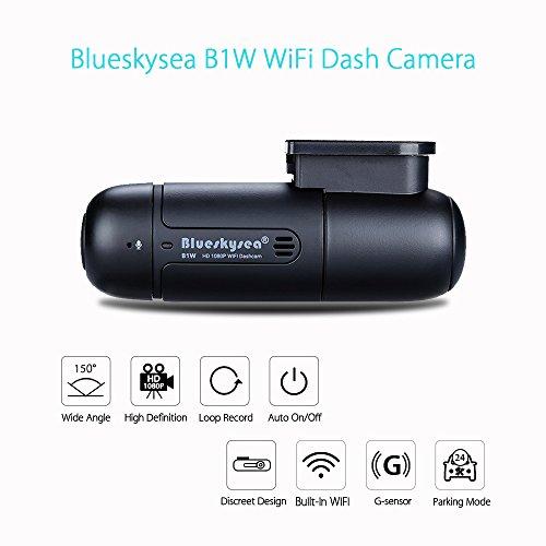 Blueskysea B1W WiFi Mini Dash Cam Car Camera Vehicle Video Driving Recorder 360 Degree Rotatable Lens 1080p 30fps G-Sensor Loop Recording