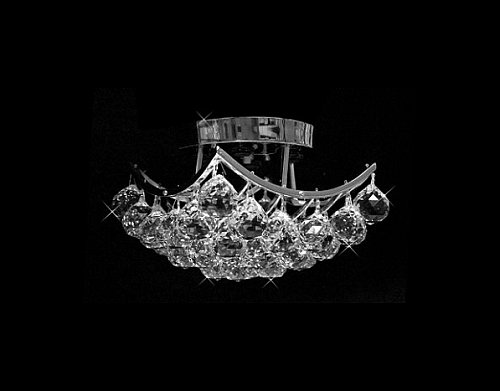 Joshua Marshall Home Collection 10611 Clear Swarovski or European Crystals 4-bulb Multi Light Chandelier Chrome Flush Mount Light, Silver