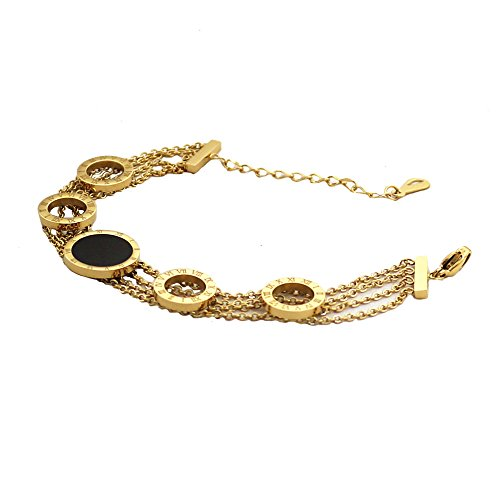 Baoli Women's Gold White Black Shell Roman Numerals Tassel Chian Bracelet (yellow gold color)