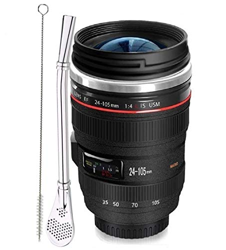 Cup Straw Mug - Bestic Camera Lens Coffee Mug,Tumbler Insulated Stainless Steel Coffee Cup with Sealed Lid,Reusable Straw and Brush,Photographer Mug,Travel Cups for Drinking Coffee,Tea,Espresso,Juice,Beer,Water