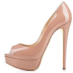elashe- Scarpe da Donna – 15CM Scarpe col Tacco Peep Toe – Classiche Scarpe con Plateau