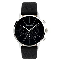 Gigandet Quarz Herren-Armbanduhr Minimalism Chronograph Uhr Datum Analog Lederarmband Schwarz G32-002