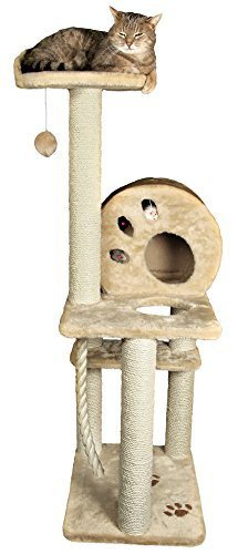 Salamanca Cat Tree in Beige – Premium Cat Tree for Large Cats and Kittens, Cat Furniture Bundles with Scratching Post and Cat Condo, Cheap Cat Trees and Condos with 1 Year Warranty