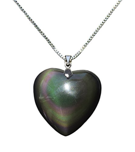 Puff Heart Pendant Necklace Made of Rainbow Obsidian Gemstone, w 18