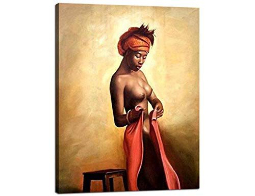 Yatsen Bridge Sexy Naked African Americans Girl Printed Painting on Canvas Wall Art Nude Prints Picture Home Decoration Hotel Framed (60X80cm)