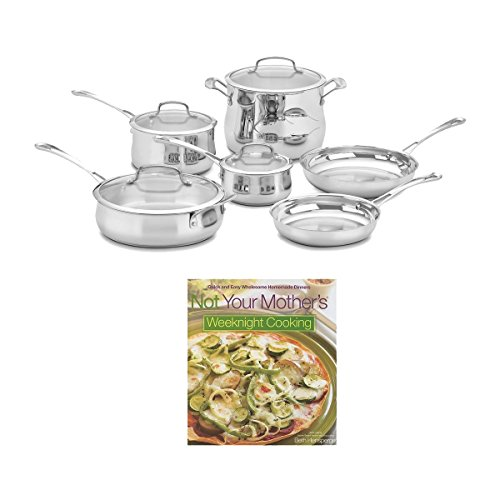Cuisinart 44-10N Contour Stainless 10-Piece Cookware Set + Cookbook Bundle (Cuisinart 3 Quart Saute Pan compare prices)