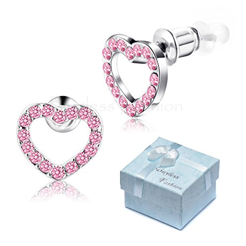 Buyless Fashion Surgical Stainless Steel Heart Stud Earrings - Pink