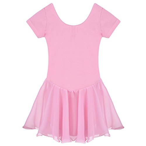 Arshiner Girls' Ruffle Sleeve Skirted Leotard, Pink