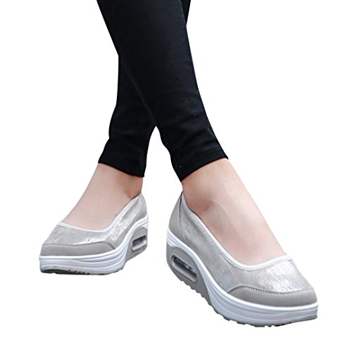 vermers Clearance Sale Women Platform Shoes - Fashion Air Cushion Shake Slip-On Sport Sneakers(US:8, Gray) (Head Bobble Casual Custom)