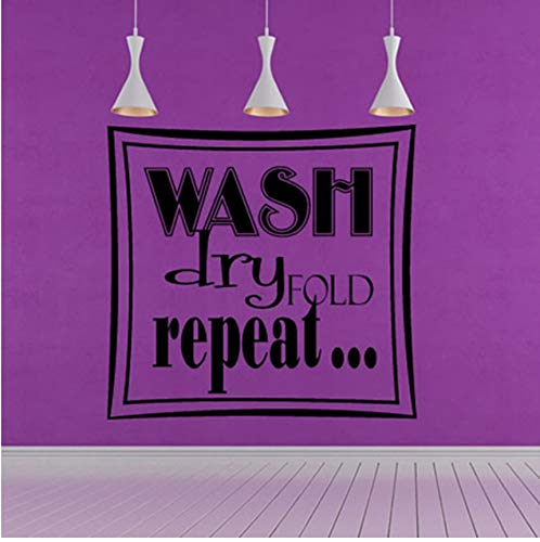 (LSFHB Wash Dry Fold Repeat Square Art Words Wall Pictures Home Decor Hollow Out Removable Vinyl Wall Sticker for Laundry 60X57Cm)