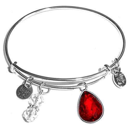 Hidden Hollow Beads Message Charm (84 Options) Expandable Wire Bangle Women's Bracelet, in The Popular Style, Comes in A Gift Box! (Birthstone July)