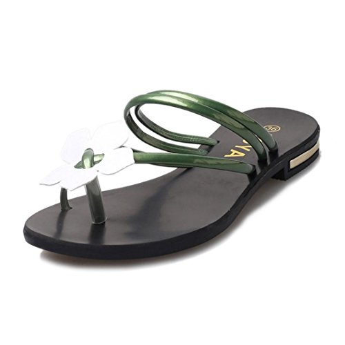 YANG-YI Women Boho Flower Weave Sandals Beach Flip Flops Slippers (Green, US-7) from YANG-YI Sandals