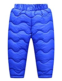 Happy Cherry Kids Down Pants Baby Boys Girls Windproof Warm Snow Pants Winter Thicker Elastic Waist Trousers