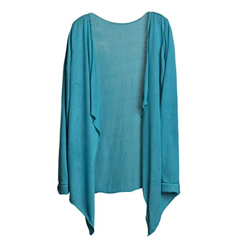 iDWZA Summer Ladies Long Slim Cardigan Modal Sun Protection Clothing Tops (Light Blue 1) - Sweat Felt