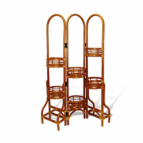 (6 Tier Natural Rattan Wicker Plant Flower Stand Colonial)