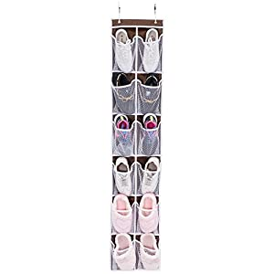 "Over the Door Shoe Organizer, MaidMAX Hanging Shoe Organizer Holder Rack with 12 Mesh Pockets & Hooks for Closet Narrow Door, 12""W x 58""H, Brown"