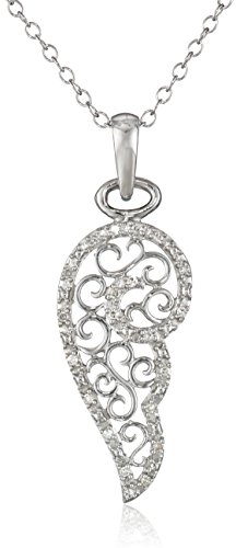 """Sterling Silver Diamond Filigree Angel Wing Pendant Necklace (0.06 cttw, I-J Color, I2 Clarity), 18"""""""