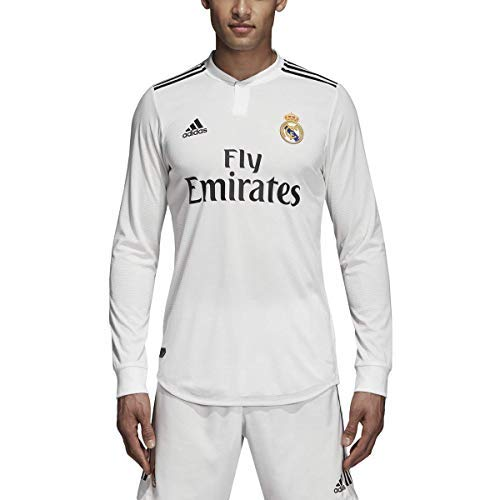 (adidas 2018-2019 Real Madrid Home Authentic Long Sleeve Jersey (Core White))