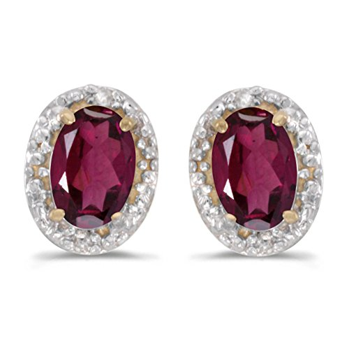FB Jewels Solid 14k Yellow Gold Studs Genuine Red Birthstone Oval Rhodolite Garnet And Diamond Earrings (0.98 Cttw.)