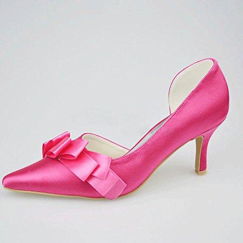 Kevin Fashion mz1199señoras satén con fruncido novia boda formal fiesta noche Prom zapatos de bombas, color Rosa, talla 43 EU