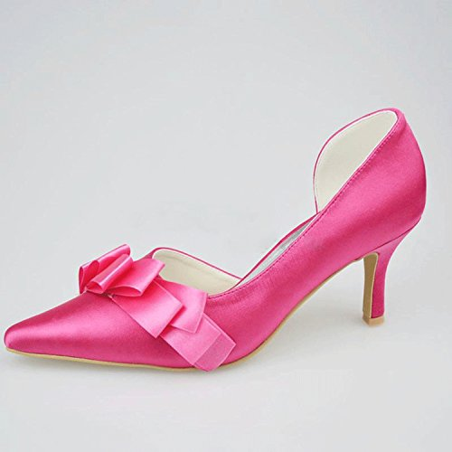 Kevin Fashion mz1199señoras satén con fruncido novia boda formal fiesta noche Prom zapatos de bombas Rosa
