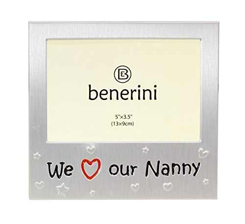 benerini We Love Our Nanny ' - Expressions Photo Picture Frame Gift - 5 x 3.5 - Brushed Aluminum Satin Silver Color