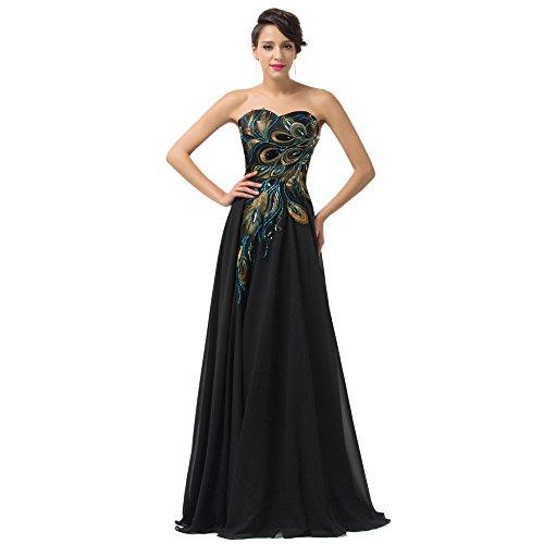 MEI&S La mujer elegante Vestido Vintage Prom Stomacher Larga Noche Maxi vestido de fiesta negro