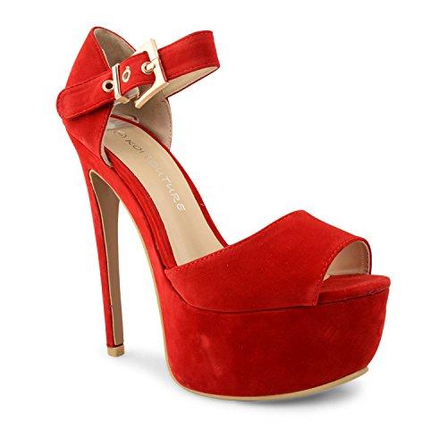 Para mujer diseño de Leigh Ann Tennant con plataforma ajustados Stiletto de tacones de zapatos de traje de neopreno para mujer y pedrería para mujer de talla de rojo - rojo