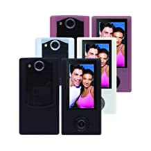 iShoppingdeals - Black/White/Pink Soft Silicone Skin Case Cover for Sony Bloggie Duo Camera MHS-FS2 4GB 2 Hours
