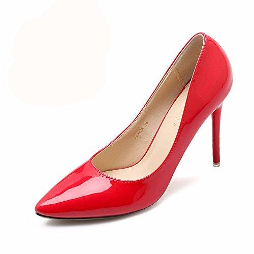 HXVU56546 El Nuevo Y Elegante Y Atractivo Tacones Altos Durante La Primavera Y El Otoño Solo Zapatos Zapatos De Mujer Zapatos De Trabajo 35 Rojo