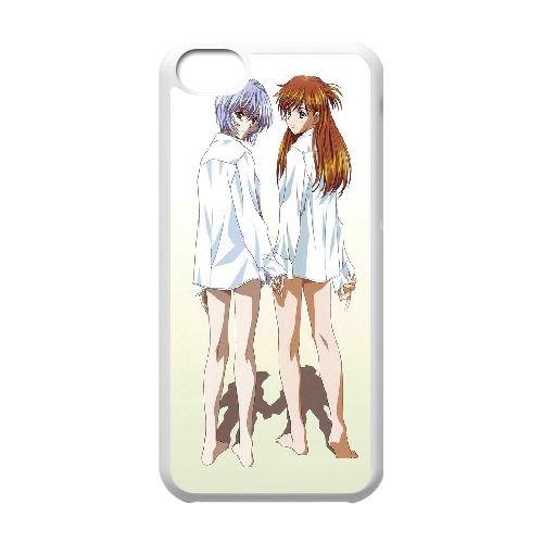 Ayanami Rei And Asuka Langley Soryu coque iPhone 5C Housse Blanc téléphone portable couverture de cas coque EBDOBCKCO11566
