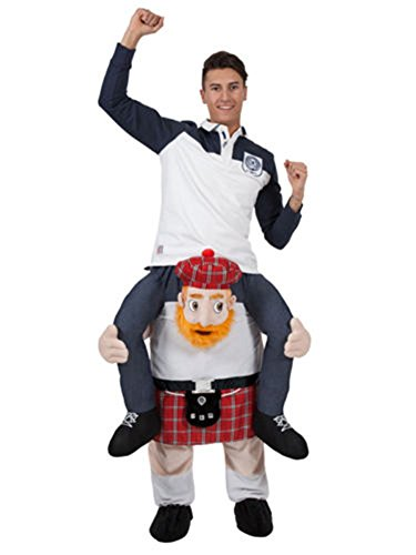 MatGui Halloween Carry Ride On Me Piggy Back Shoulder Scotsman Costume Funny Scottish Jock National Fancy Dress]()