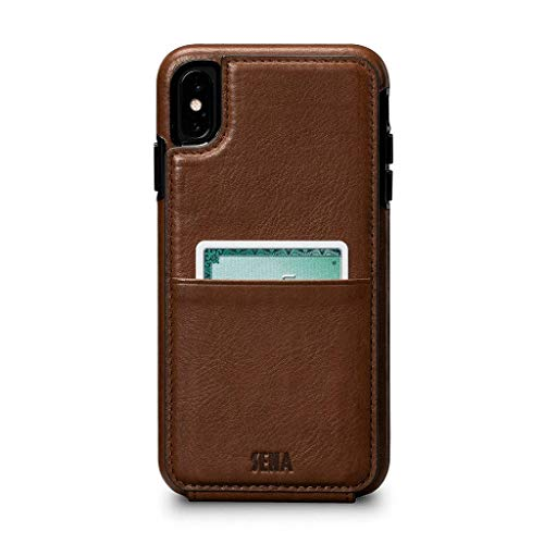 Sena Cases, Wallet Skin Dress Your Tech in Stylish Leather Case Apple iPhone Xs Max (6.5 inch) - Wireless Charging Compatible - Saddle