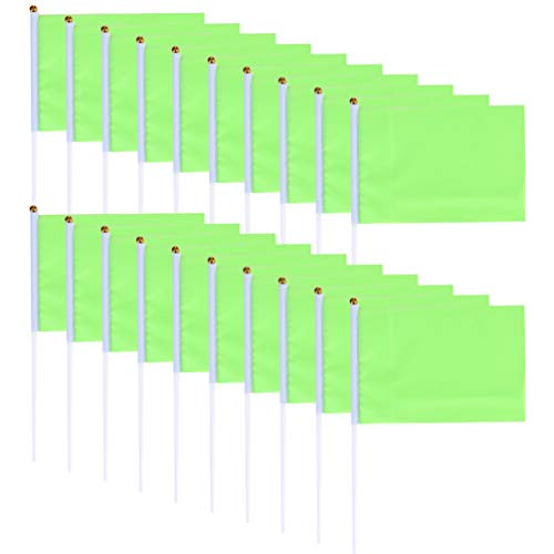 VOSAREA 100pcs Mini Flags Small Square Flag Handheld Solid Color Square Flags Signal Flags for Celebration Party Sports Events (Green) from VOSAREA