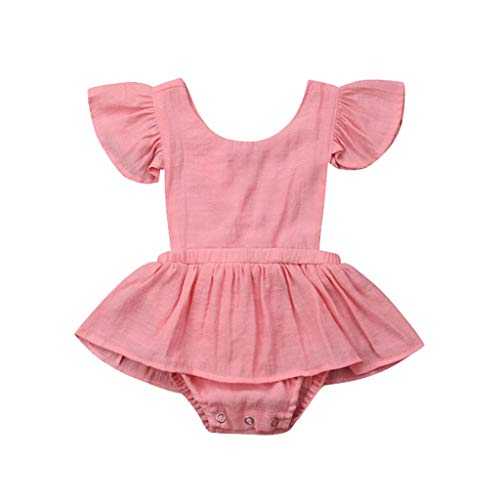 LiLiMeng Toddler Baby Kid Girls Solid Ruffles Short Sleeve Round Collar Romper Dress Sunsuit Jumpsuit Clothes Pleated Skirt Pink ()