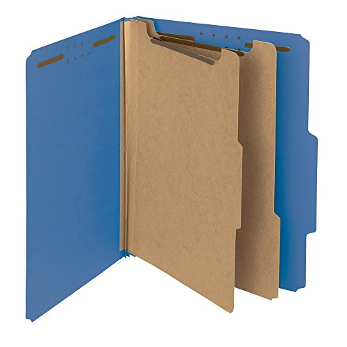 Smead 100 Percent Recycled Pressboard Classification Folder, 2 Dividers, 2-Inch Expansion, Letter Size, Dark Blue, 10 per Box (14062)