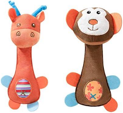 Athyior 2 stukken Baby rammelaar voor 618 maandengrappige pluche zachte handgreep rammelaar klinkt kleurrijke dieren speelgoed cadeau voor pasgeboren
