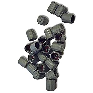 """(100 Count) """"Classic Simple with Easy Grip Texture"""" Valve Stem Dust Cap Seal Made of Hardened Rubber {Deep Ford Gray Color Hard Plastic Internal Threads for Easy Application Rust Proof}"""