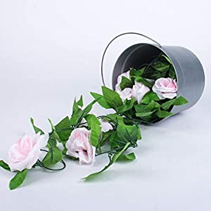 Miracliy 2 Pack 15 FT Fake Rose Vine Flowers Plants Artificial Flower Home Hotel Office Wedding Party Garden Craft Art Décor, Pink 2