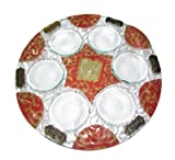 Yuval Judaica Art Handmade Glass & Pewter Seder Passover Pesach Plate #3