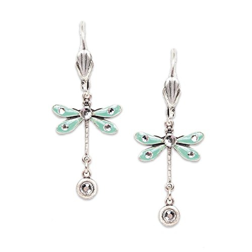 - Anne Koplik Silvertone Aqua Enamel with Clear Swarovski Crystal Dragonfly Dangle Earrings