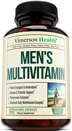 Men's Daily Multimineral/Multivitamin Supplement - Vitamins A C E D B1 B2 B3 B5 B6 B12. Magnesium, Biotin, Spirulina, Zinc. Multivitamins with Antioxidant Properties for Heart & Immune Health. 60 Caps